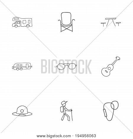 Set Of 9 Editable Camping Icons. Includes Symbols Such As Musical Instrument, Hiker, Seat And More. Can Be Used For Web, Mobile, UI And Infographic Design.