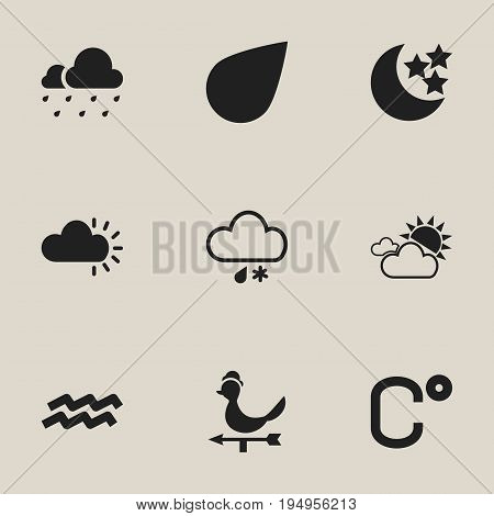 Set Of 9 Editable Weather Icons. Includes Symbols Such As Water Bearer, Overcast Weather, Hailstorm And More. Can Be Used For Web, Mobile, UI And Infographic Design.