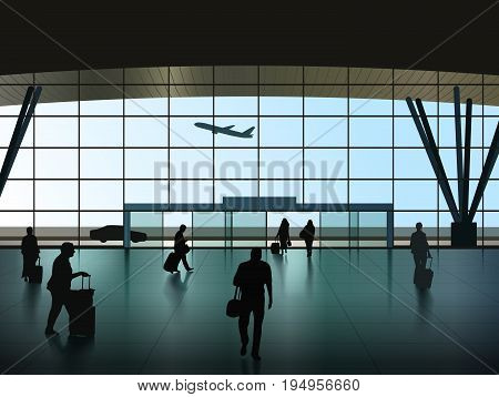 Vector Airport Hall With Passenger Silhouettes Eps 10 Vector Transparency and Gradient Mesh Used