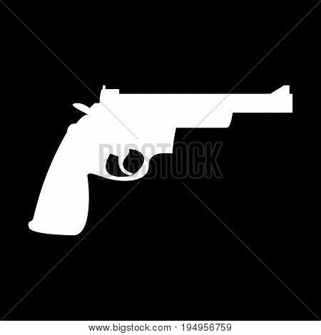 Gun Revolver The White Color Icon .