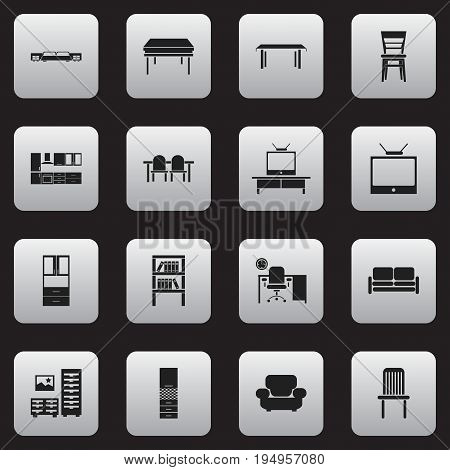 Set Of 16 Editable Furniture Icons. Includes Symbols Such As Trestle, Seat, Office And More. Can Be Used For Web, Mobile, UI And Infographic Design.