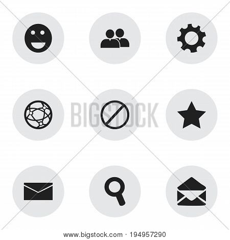 Set Of 9 Editable Web Icons. Includes Symbols Such As Emoji, Settings, Bookmark And More. Can Be Used For Web, Mobile, UI And Infographic Design.