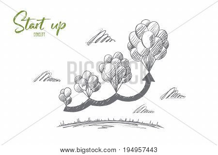 Start up concept. Hand drawn balloons as symbol of new idea. Growth of project isolated vector illustration.