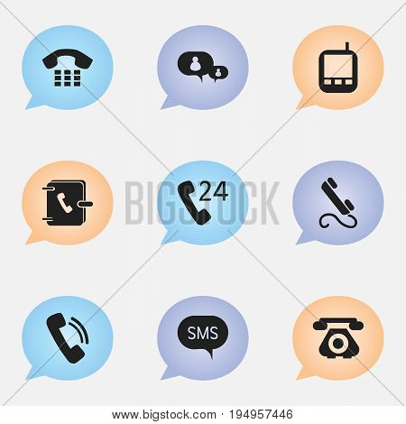Set Of 9 Editable Gadget Icons. Includes Symbols Such As Telecommunication, Chatting, Transceiver And More. Can Be Used For Web, Mobile, UI And Infographic Design.
