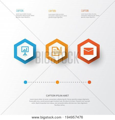 Trade Icons Set. Collection Of Envelope, Contract, Presentation Board And Other Elements. Also Includes Symbols Such As Board, Page, Mail.