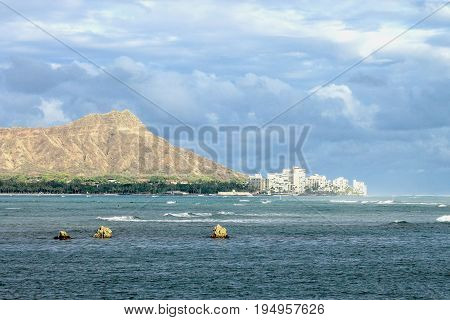 Waikiki and Diamond Head viewed from Ala Moana on Magic Island.