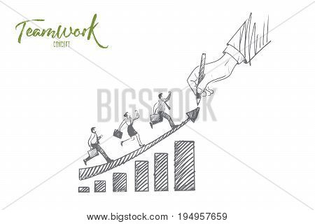 Teamwork concept. Hand drawn men and women moving up. People working together isolated vector illustration.
