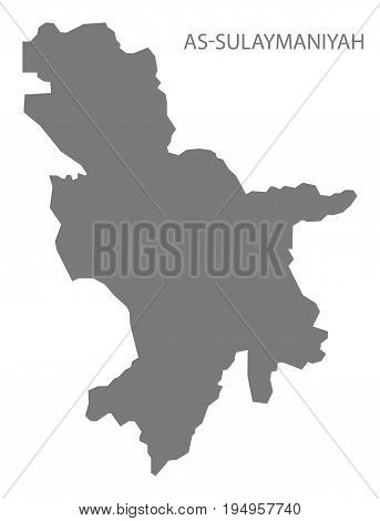 As-Sulaymaniyah Iraq map grey illustration silhouette shape