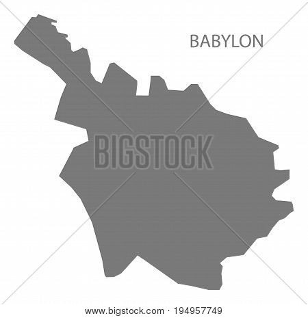 Babylon Iraq map grey illustration silhouette shape