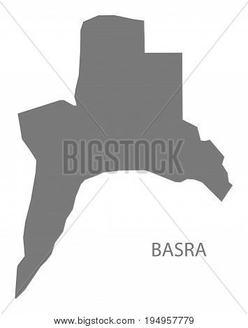 Basra Iraq map grey illustration silhouette shape