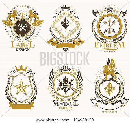 Vector vintage heraldic Coat of Arms designed in award style. Medieval towers armory royal crowns stars and other graphic design elements collection.