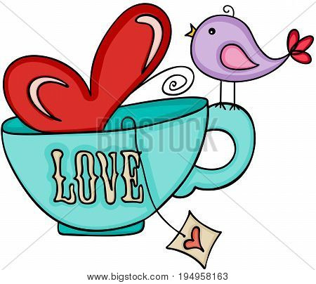 Scalable vectorial image representing a love tea cup and cute bird, isolated on white.