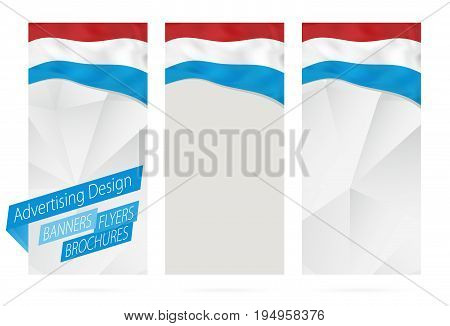 Design Of Banners, Flyers, Brochures With Flag Of Luxembourg.