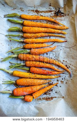 Bunch of baked carrots