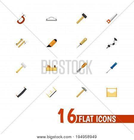 Set Of 16 Editable Equipment Icons. Includes Symbols Such As Nag, Boer, Hammer And More. Can Be Used For Web, Mobile, UI And Infographic Design.