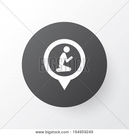 Location Icon Symbol. Premium Quality Isolated Prayer Place Element In Trendy Style.