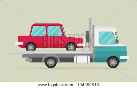 Tow Truck With Car On It, Flat Style Illustration