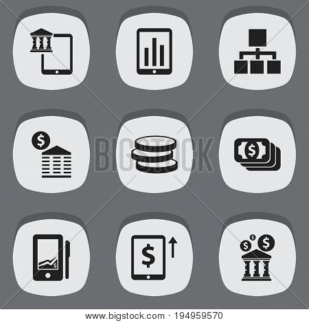Set Of 9 Editable Financial Icons. Includes Symbols Such As Hierarchy, Cash Growth, Mobile And More. Can Be Used For Web, Mobile, UI And Infographic Design.