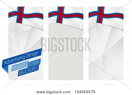 Design Of Banners, Flyers, Brochures With Flag Of Faroe Islands.