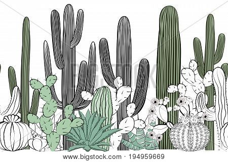 Seamless pattern with cactus. Wild cactus forest with agave saguaro and prickly pear. Black white and green