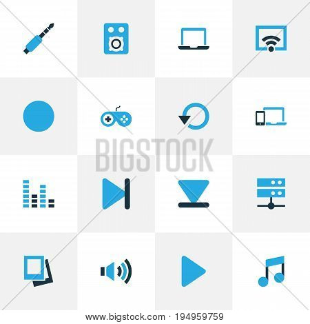 Music Colorful Icons Set. Collection Of Finish, Speaker, Audio And Other Elements. Also Includes Symbols Such As Volume, Bottom, Button.