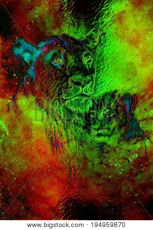 Lioneass and little lion cub in cosmic space. Glass effect