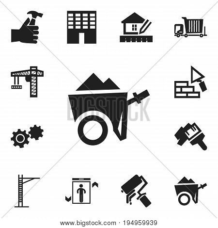 Set Of 12 Editable Construction Icons. Includes Symbols Such As Mallet, Scrub, Architecture And More. Can Be Used For Web, Mobile, UI And Infographic Design.