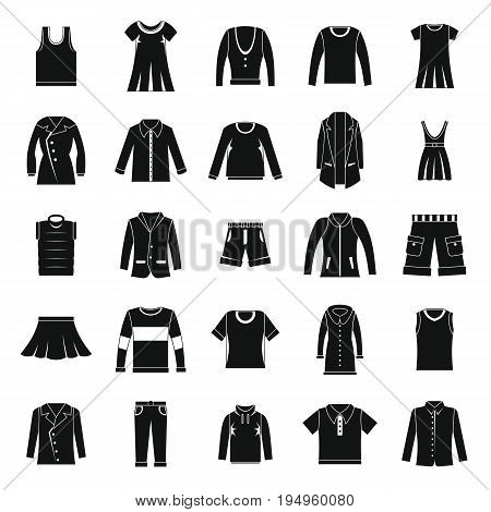 Clothes icons set in silhouette style Vector set clothing on white background including dresess, skirts, shorts, pants, tops and t-shirt.