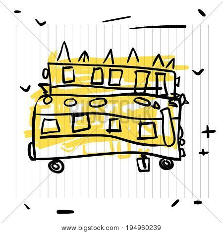 Back to school concept. Cute sketch of school bus on notebook page, vector illustration.