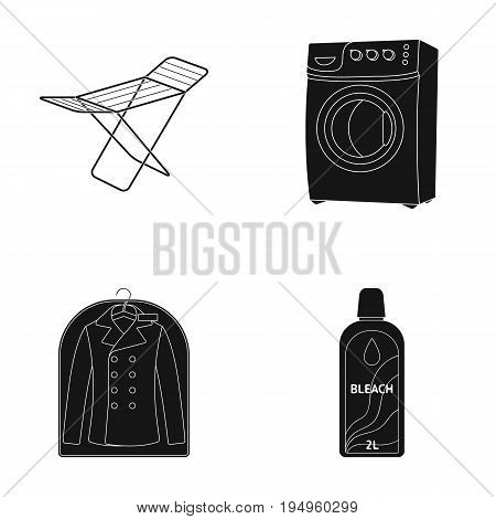 Dryer, washing machine, clean clothes, bleach. Dry cleaning set collection icons in black style vector symbol stock illustration .