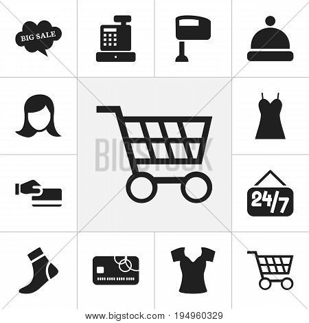 Set Of 12 Editable Trade Icons. Includes Symbols Such As Headgear, Hosiery, Disbursement And More. Can Be Used For Web, Mobile, UI And Infographic Design.
