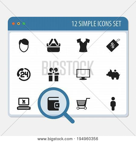 Set Of 12 Editable Shopping Icons. Includes Symbols Such As Pushcart, Cash Collecting, Shopping Case And More. Can Be Used For Web, Mobile, UI And Infographic Design.