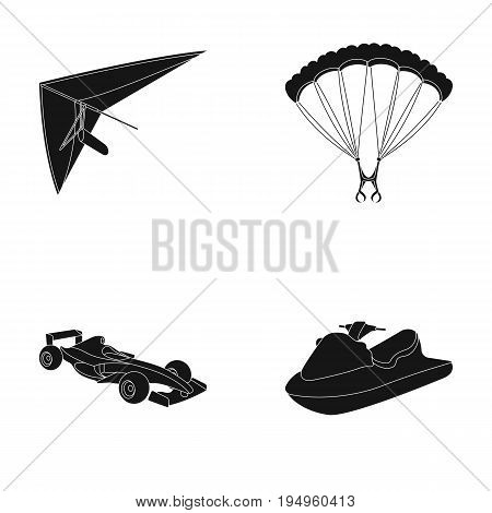 Hang glider, parachute, racing car, water scooter.Extreme sport set collection icons in black style vector symbol stock illustration .