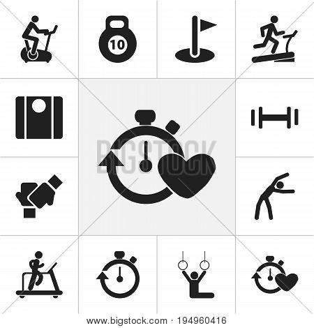 Set Of 12 Editable Fitness Icons. Includes Symbols Such As Acrobat, Racetrack Training, Training Bicycle And More. Can Be Used For Web, Mobile, UI And Infographic Design.