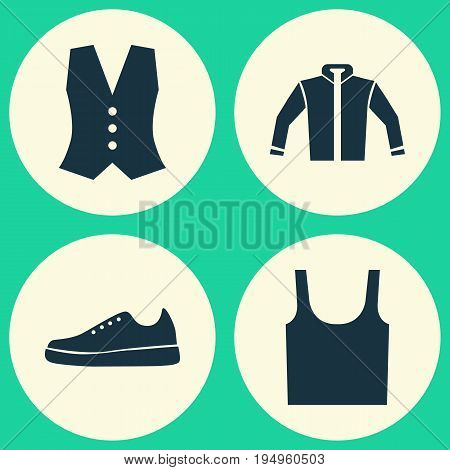 Clothes Icons Set. Collection Of Sneakers, Cardigan, Singlet And Other Elements. Also Includes Symbols Such As Tank, Singlet, Jacket.