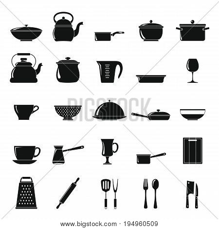 Kitchen dishes icons set in simple style isolated on white background. Elements for dishes design