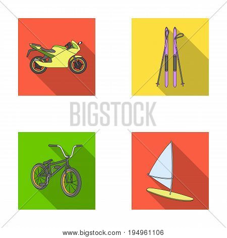 Motorcycle, mountain skiing, biking, surfing with a sail.Extreme sport set collection icons in flat style vector symbol stock illustration .