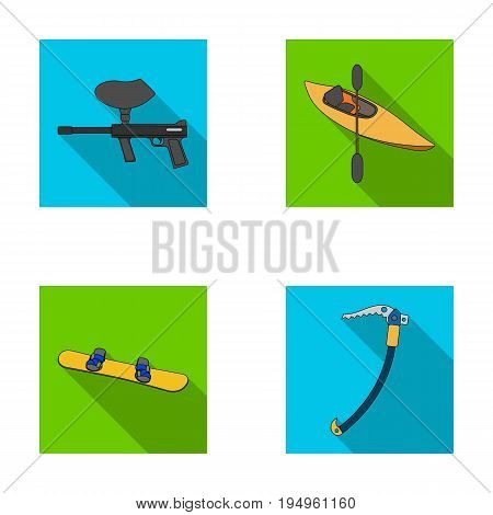 Paintball marker, kayak with a paddle, snowboard and climbing ice ax.Extreme sport set collection icons in flat style vector symbol stock illustration .