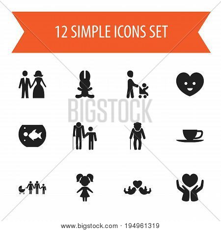 Set Of 12 Editable Folks Icons. Includes Symbols Such As Grandson, Girl, Bunny. Can Be Used For Web, Mobile, UI And Infographic Design.