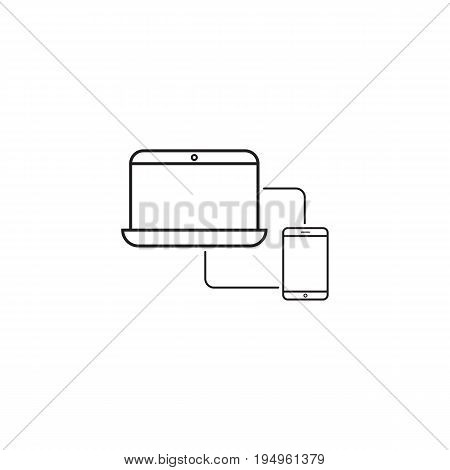 Sync devices line icon, outline vector logo illustration, linear pictogram isolated on white