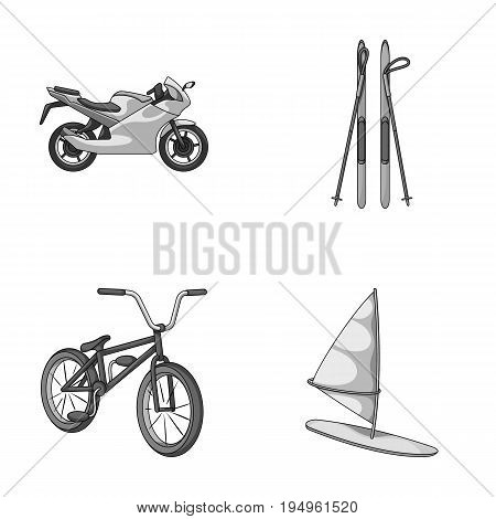 Motorcycle, mountain skiing, biking, surfing with a sail.Extreme sport set collection icons in monochrome style vector symbol stock illustration .