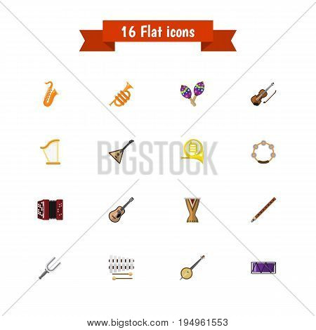 Set Of 16 Editable Audio Icons. Includes Symbols Such As Trombone, Sax, Portal And More. Can Be Used For Web, Mobile, UI And Infographic Design.