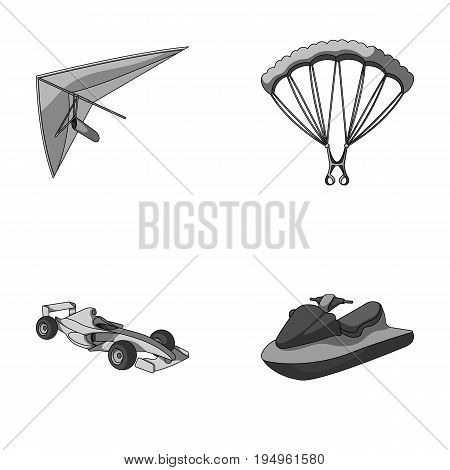 Hang glider, parachute, racing car, water scooter.Extreme sport set collection icons in monochrome style vector symbol stock illustration .