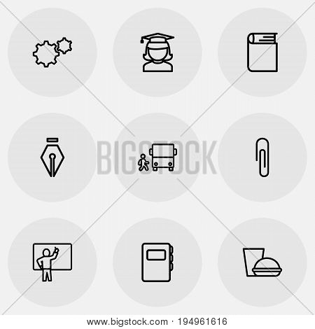 Set Of 9 Editable Teach Icons. Includes Symbols Such As Fastener Page, Graduate, Dictionary And More. Can Be Used For Web, Mobile, UI And Infographic Design.