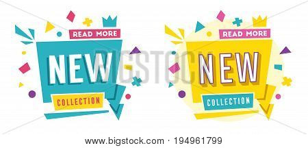 New collection banner. Bright and retro style. Cartoon vector illustration. Poster and flyer design. Geometric elements