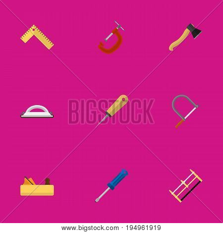 Set Of 9 Editable Instrument Icons. Includes Symbols Such As Bodkin, Handsaw, Axe. Can Be Used For Web, Mobile, UI And Infographic Design.