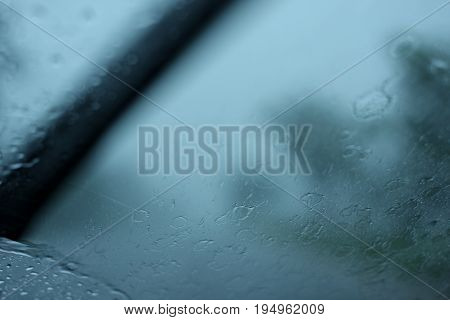 Driving in heavy rain for use as background.