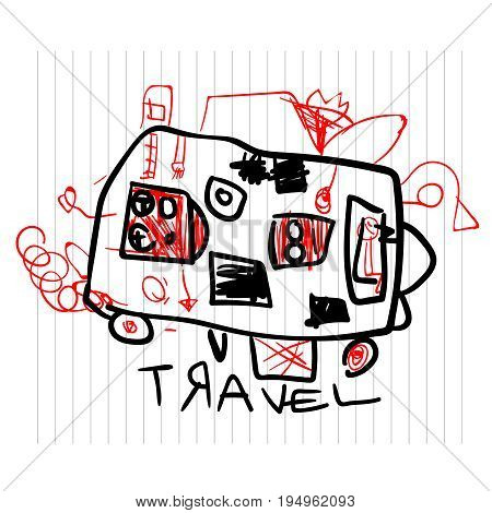 Travel and tourism concept. Cute children's drawings of kids on notebook page, vector illustration.