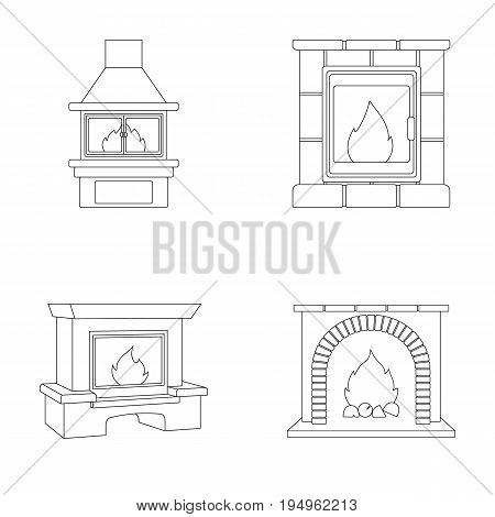 Fire, warmth and comfort. Fireplace set collection icons in outline style vector symbol stock illustration .
