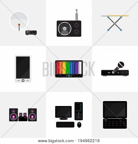 Set Of 9 Editable Technology Icons. Includes Symbols Such As Tuner, Antenna, Stereo System And More. Can Be Used For Web, Mobile, UI And Infographic Design.